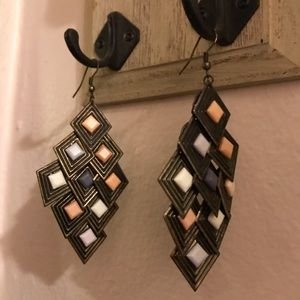 Diamond shape copper chandelier earrings